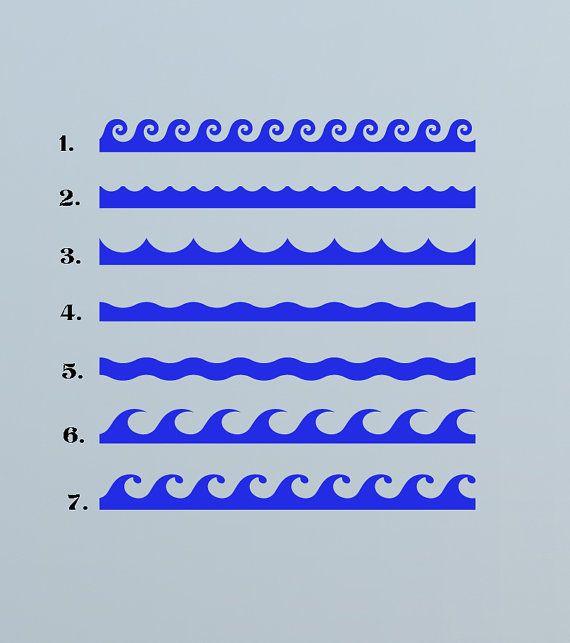 Ocean Waves, by the foot  - Decal, Sticker, Vinyl, Wall, Bathroom, Pool, Coastal Decor via Etsy