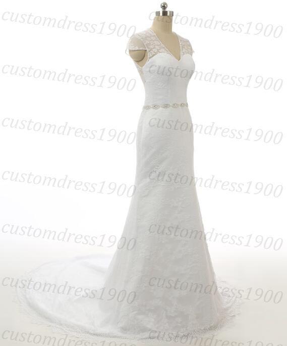 White Elegant Cap Sleeve Wedding Dress Handmade by customdress1900