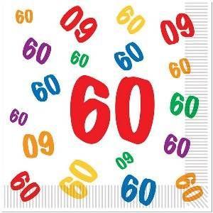 Servetten 60 jaar met gekleurde cijfertjes -  Een pakje met 16 grote servetten bedrukt met vrolijk gekleurde cijfers 60. Afmeting: 33 x 33cm.   www.feestartikelen.nl