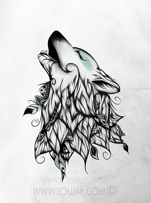 Wolf fox art sketch tattoo