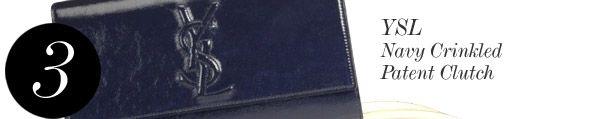 (3) YSL Navy Crinkled Patent Clutch