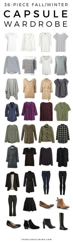 A 36-piece fall winter capsule wardrobe + 5 outfit ideas- click through to find out where to buy the items pictured!