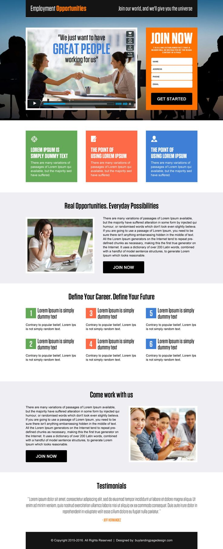 employment opportunities video lead capture landing page design template