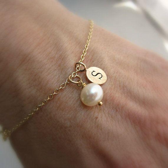 Personalized bracelet, keepsake pearl, monogram bracelet, gold initial, freshwater pearl, gold filled chain via Etsy