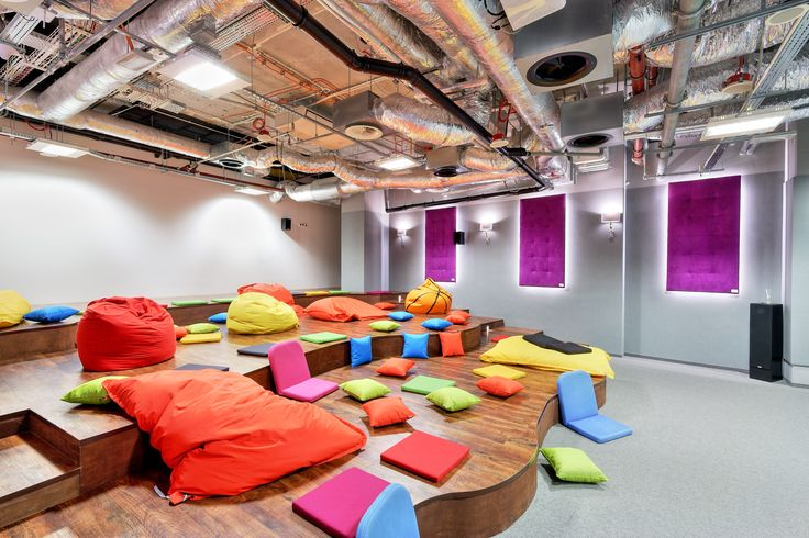 Dream office, conference room, cinema conference, pillows in office