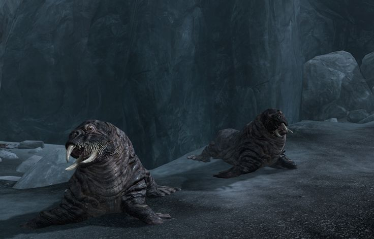 Horkers are large, walrus-like creatures that are found around the island of Solstheim and in the northern regions of Skyrim. The horkers of Skyrim are often hunted for their meat and tusks.  Horkers are slow and can easily be outrun. They don't do much damage and often live in cooler areas. Horkers will not necessarily attack on sight, though if entering close proximity, they will attack by slashing with their three large tusks. This can be a fatal problem at lower levels.