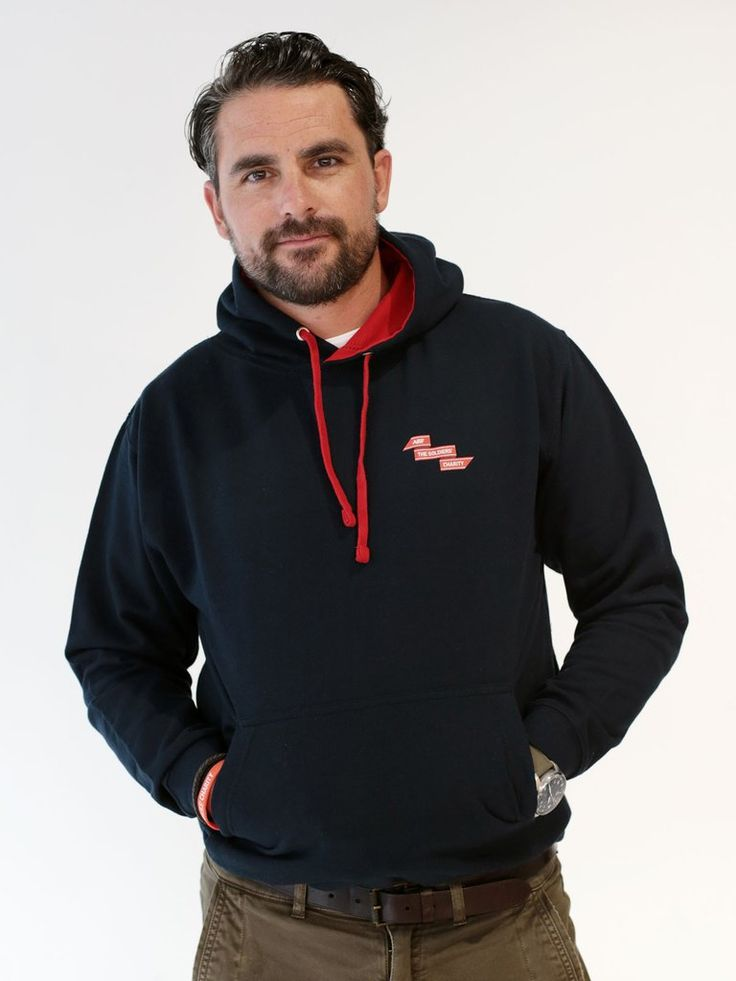 Levison Wood models the Soldiers' Charity Navy Hooded Top.