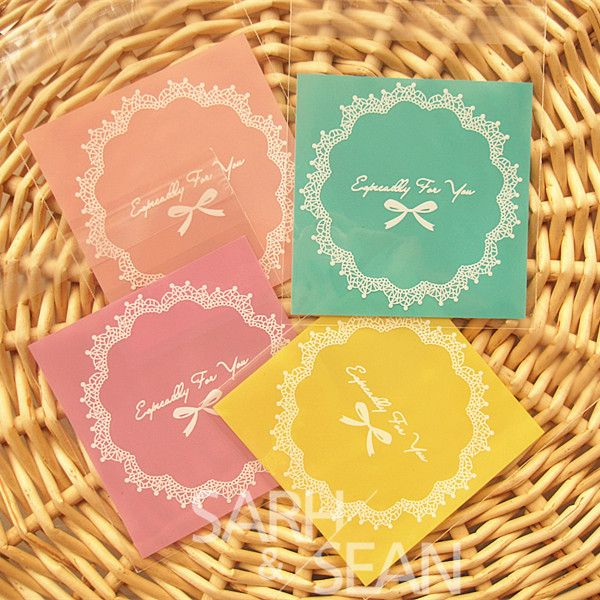 Cookie packaging  lace candy color self-adhesive plastic bags for biscuits snack baking package 80pcs/lot 10X10cm $6.57