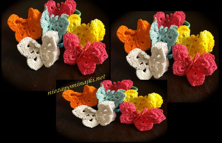 2 set of crochet butterflies (crochet applique, decoration on your hair, clothing or bag) by Niezapominajkinet on Etsy