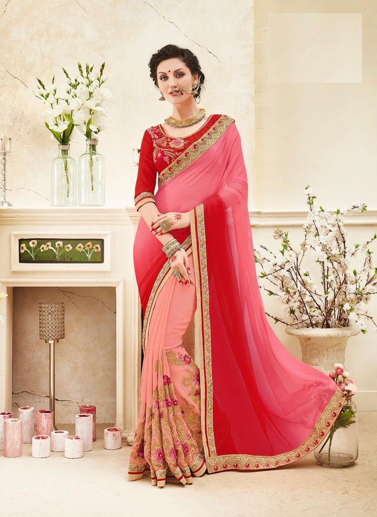Buy Party wear red pink color saree from kollybollyethnics in USA UK and canada