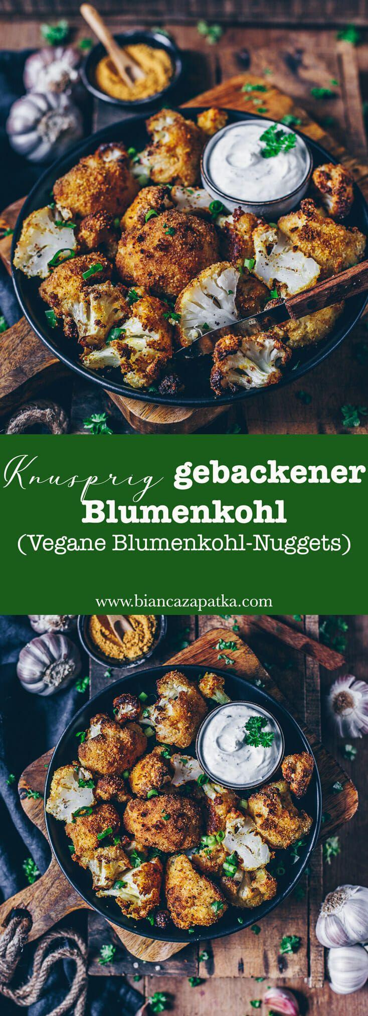 Knusprig gebackener Blumenkohl (vegane Blumenkohl-Nuggets)