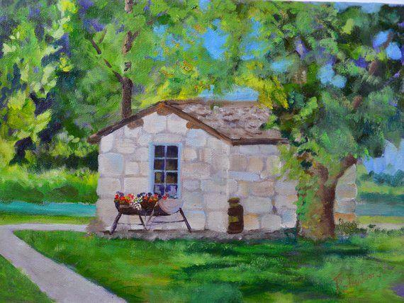 Stone House Landscape Historic Oil Painting Original Oil Painting Rustic Decor Fine Art Paintin Oil Painting Landscape House Landscape Landscape Paintings