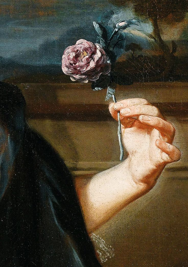 Giuseppe Bonito. Detail from Portrait of a Lady with a Rose, 18th Century. Jaded Mandarin
