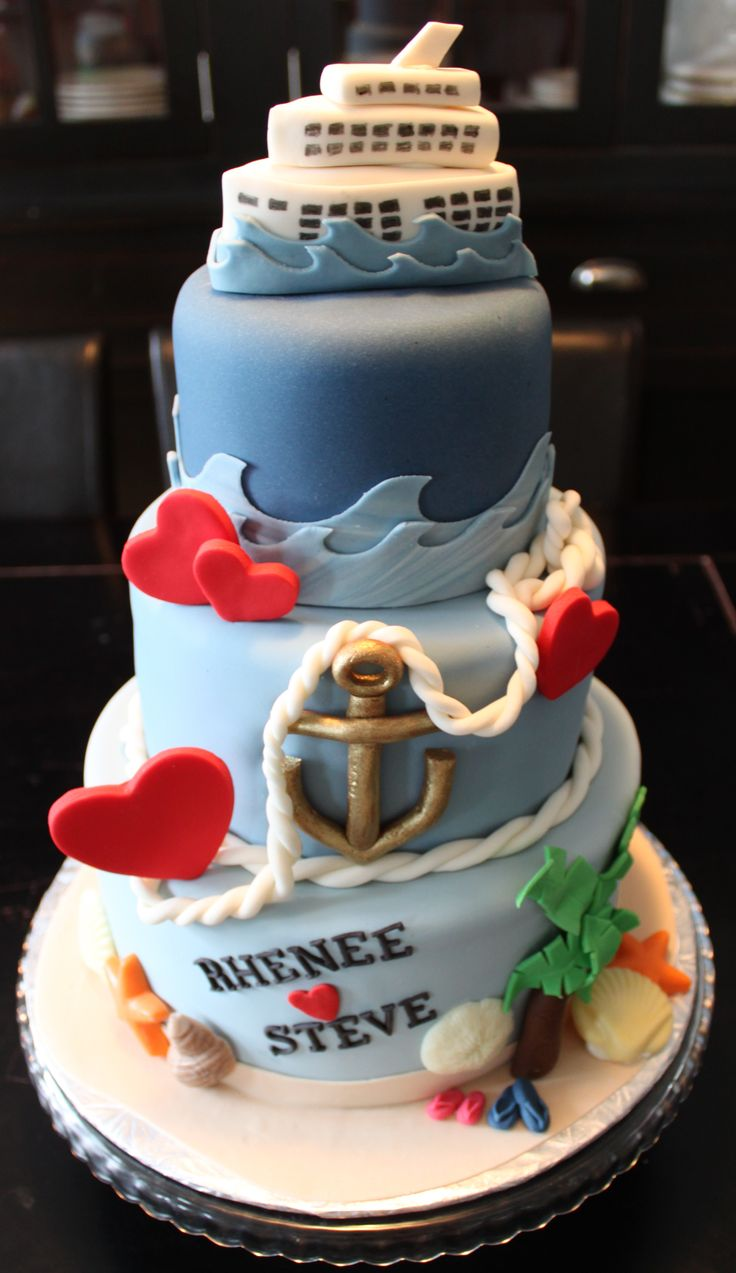 Cruise Ship Wedding Cake - This was for a destination wedding, with the wedding party all going on a cruise together. The ceremony was to be at one of the Caribbean destinations.
