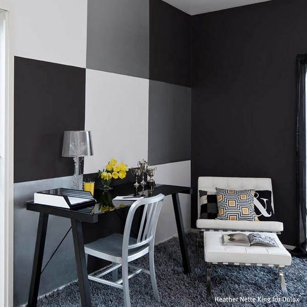 black and silver painted wall designs