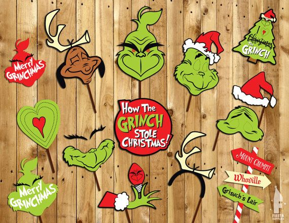 The Grinch Christmas Photo Booth Props Instant by FiestaSupplies