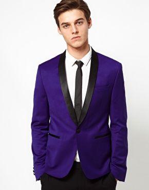 ASOS Skinny Tuxedo Suit Jacket in Indigo Polywool $48