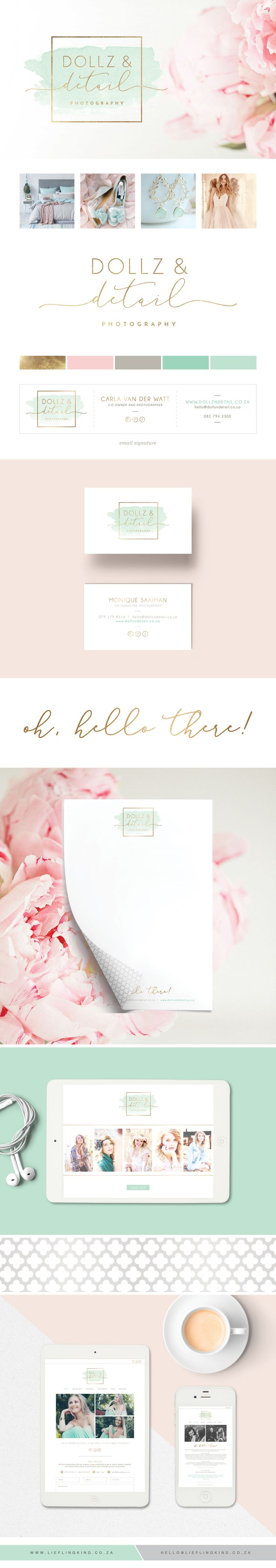 Dreamy, whimsical, magical watercolor branding for Dollz & Detail Photography.   Corporate identity. Gold. Blush. Mint. White. Logo. Business Card. Brand.