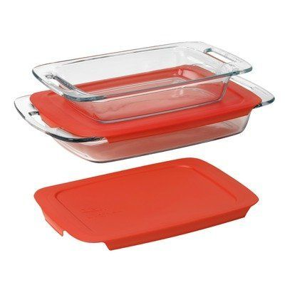 Pyrex  Easy Grab 4-Piece Value Pack, includes 1-ea 3-qt Oblong, 2-qtOblong, Red Plastic Covers by World Kitchen (PA), http://www.amazon.com/dp/B0057SN2YG/ref=cm_sw_r_pi_dp_a3qosb169RD3V