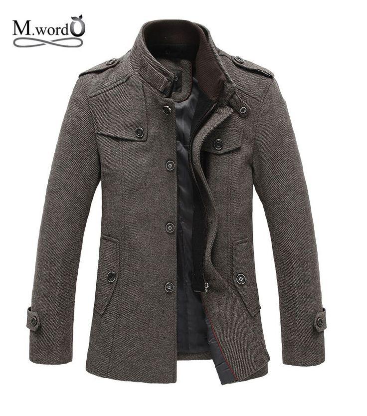 2015 Новый стиль весна осень куртки сращивания шерстяной мужские тонкая пригонка утолщение верхней одежды мужские пальто зимнее пальто