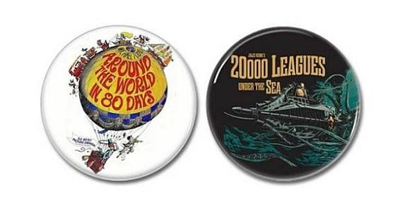 Jules Verne Buttons set of 2!  #julesverne #childrensbooks #aroundtheworldineightydays #20000leaguesunderthesea #buttons #badges #pins