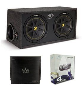 "KICKER DC12 DUAL 12"" 600W Loaded Car Audio Subwoofers Subs+Box+Amplifier+Amp Kit"