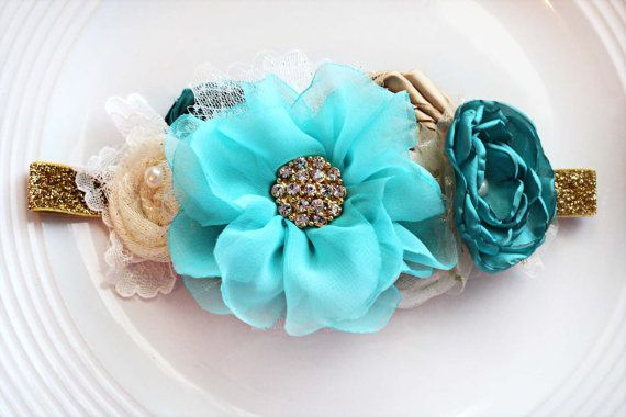 Teal Aqua and Gold Headband by JensBowdaciousBows on Etsy, $18.95