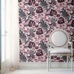 Nayeli Red Modern Floral Motif Wallpaper Sample