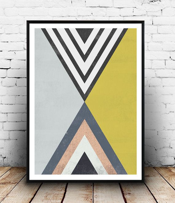 Triangles art, Abstract poster, geometric poster, op art, pastel colors, home decor, scandinavian print, modern decor, unique art, elegant