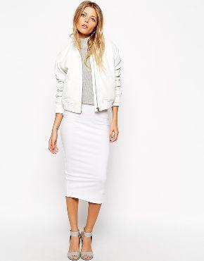 Белая юбка-карандаш миди ASOS