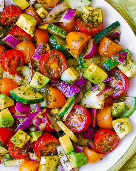 Basil Pesto Veggie Salad