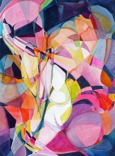 "Lou Jordan Fine Art: Colorful Abstract, Expressionism Painting ""The Way"" by New Orleans Artist Lou Jordan"
