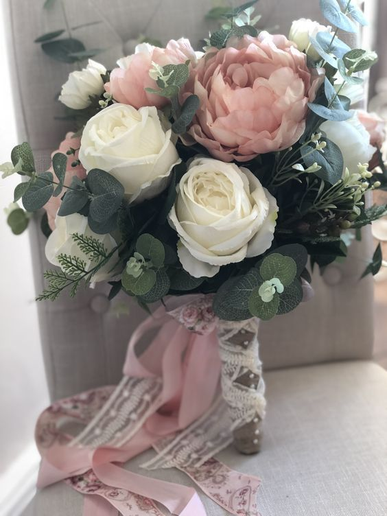 Rustic pastel wedding bouquet with roses and peonies, muted wedding colors, spri…