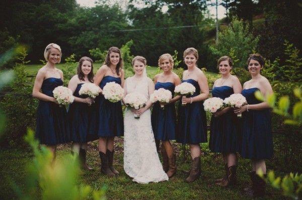 Navy Blue Bridesmaid Dresses With Cowboy Boots North Carolina Mountai...