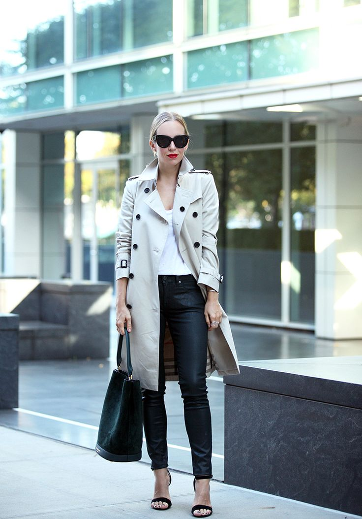 trench coat with leather trousers