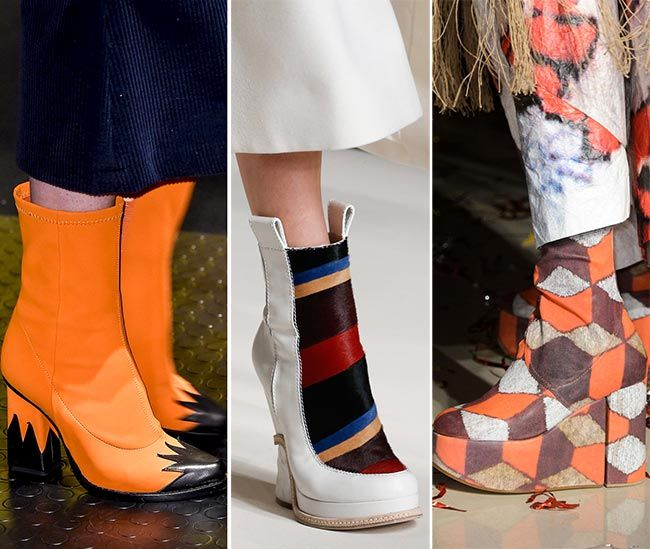 #20: Graphic Shoes  Many of the fall 2015 shoes and boots to appear on the runway shows actually included some form of graphic component, whether it came in the shape of patching or marbles or any other form of graphics, such as the MSGM zigzags on heels and toe caps or the Fendi ankle booties with the graphic pattern appearing in the middle. The graphics on boots also appear in the Vivienne Westwood collection, among many others, here taking on the whole graffiti and words on leather idea…