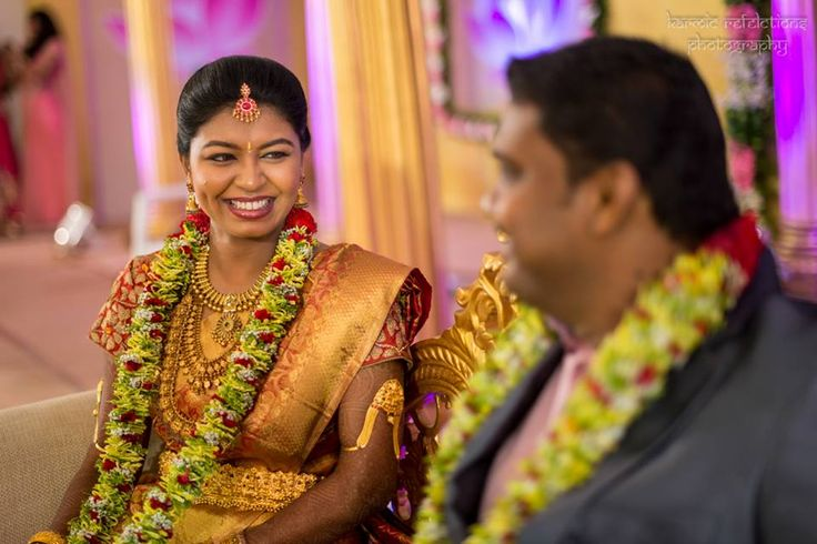 Garlands with a modern take. #south-Indian wedding #jewellery #garlands #joy #gold #smile
