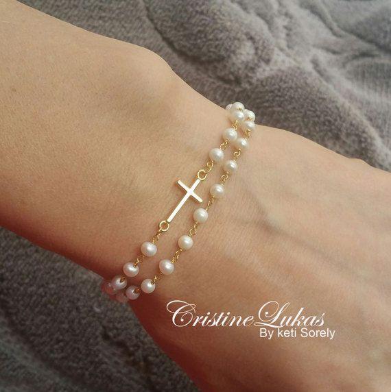 Sideways Cross Bracelet With Pearls – Double String Pearl Bracelet – Freshwater …   – Products