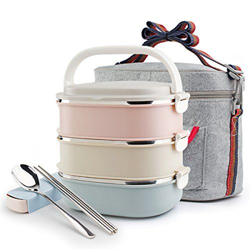 Lunch Box Set 3 Tier Insulated Food Containers Stainless