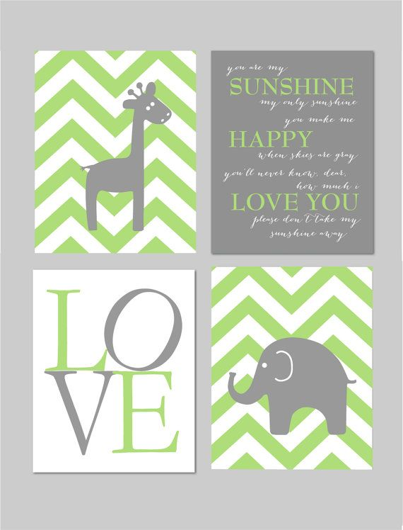 Lime Green and Grey Nursery You Are My Sunshine by karimachal