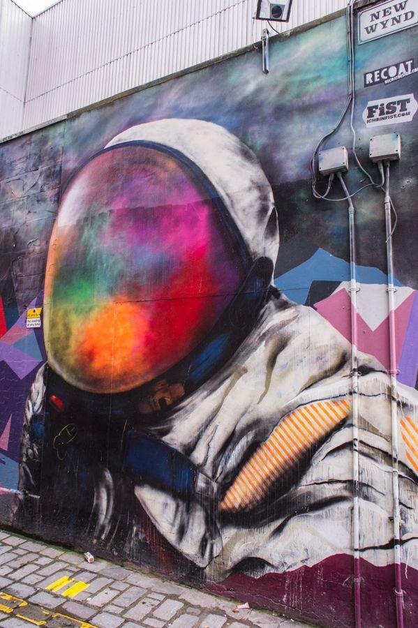 Street Art Artist: Recoat & Ali Wyllie, Work: Space Man, Location: New Wynd Street in Glasgow Scotland  | The Travel Tester