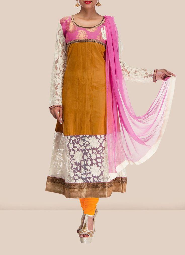 Attractive Ochre Kalidar Suit