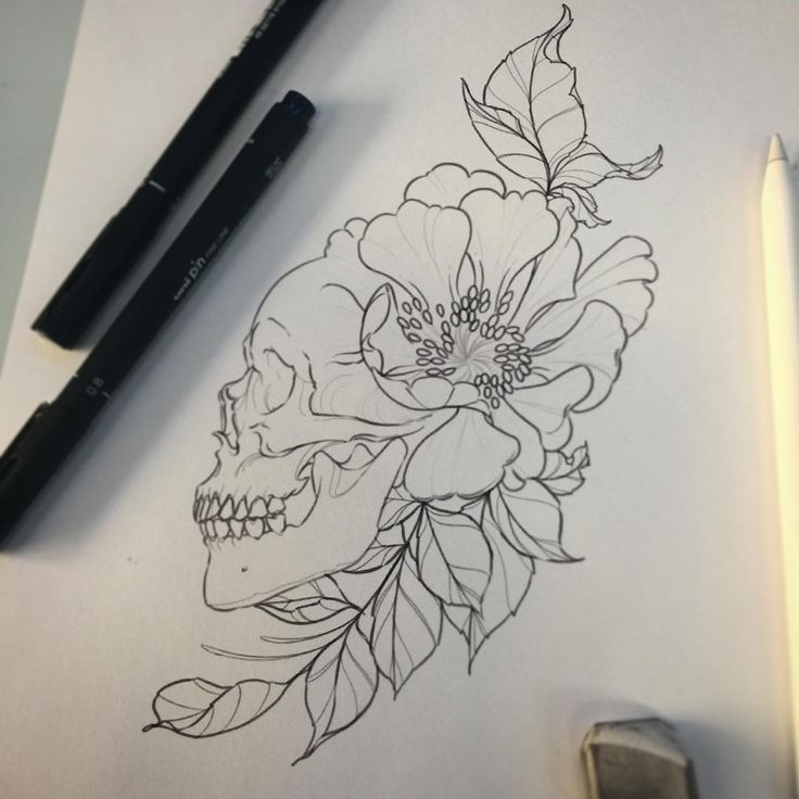 #illustration #neotraditionel #neotraditional #neo #traditionel #traditional #draw #drawing #tattoo #ink #tattooed #inked #sketch #sketches #flowers #skull