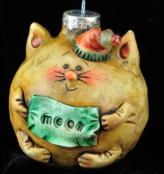 """Vintage Feel Christmas Kitty Ornament by uncommoncreatures on Etsy, $44.00  Fanciful hand made kitty 'meow'ornament, 2 3/4"""". Individually sculpted out of polymer over glass, VERY light.  Hand painted & rubbed with oil paint. His hat topped off with a glass bead."""