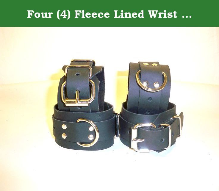 Four (4) Fleece Lined Wrist and Ankle Cuffs Redtraints Restraint. BLACK FLEECE LINED LEATHER SET OF 4 CUFF'S 2 WRIST & 2 ANKLE CUFF'S THIS CUFF SET IS MADE OF REAL 5-8 oz 2 pennies thick 100% COW LEATHER NOT LIKE SOME OF THE CHEAP IMPORTS OR NOVELTY STORE GRADE ITEMS OTHERS ARE OFFERING SIZES WRIST CUFF'S WILL FIT 5.5-10 INCH ANKLE CUFFS WILL FIT 9.5-12 INCH IF YOU NEED A LARGER OR SMALLER SIZE LET US KNOW. WE WILL RESIZE OUR CUFF'S TO FIT YOUR NEEDS AT NO EXTRA CHARGE NO HASSLE AND NO…
