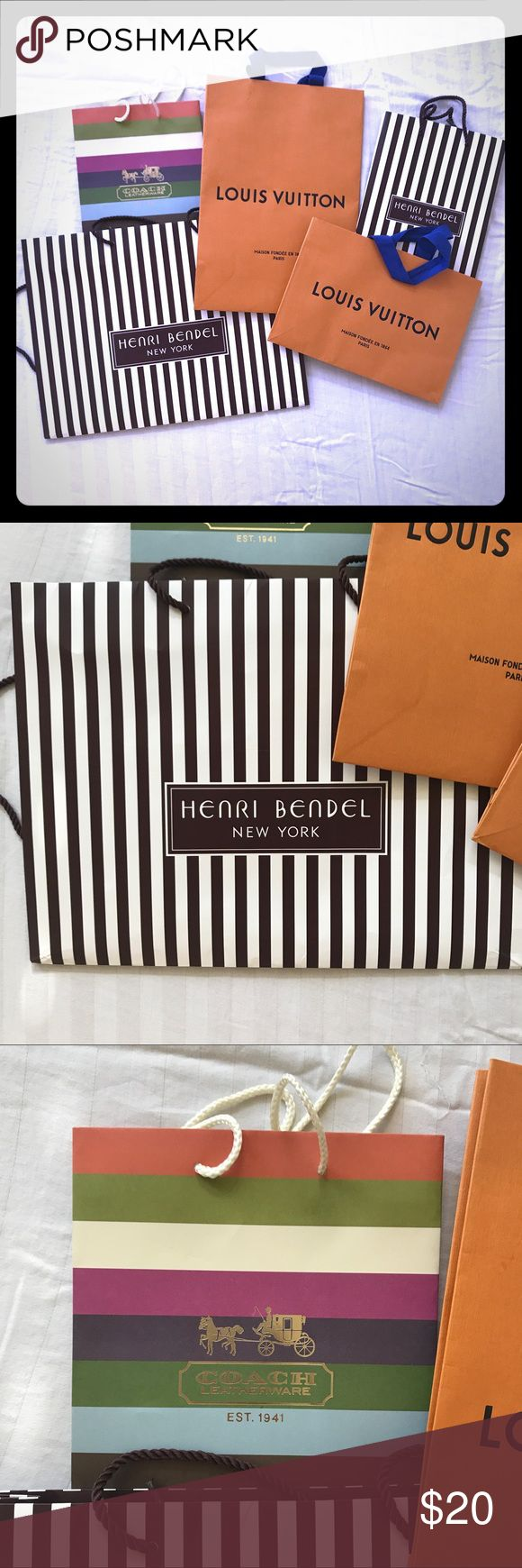 Shopping Bag Bundle This bundle includes 2 Louis Vuitton Shopping bags (S/M), 2 Henri Bendel Shopping bags (S/L), and 1 Coach Shopping bag (S). Great bundle for collectors or for staging pieces!   Same Day shipping before 3pm (Mon- Fri) Noon on Saturday (PST) Louis Vuitton Other