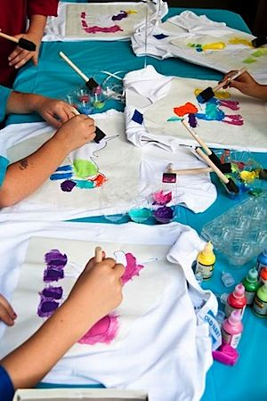 Painting Unicorn Shirts, rainbow & unicorn party feature @D Dickinson they could paint a Tshirt, I could do it at the studio???