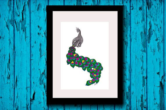 Wall Art, Drawing, Illustration, Zentangle Inspired, Patterns, Art, Print, Home Decor, Modern, Creative, Gift Idea, Peacock, Feathers