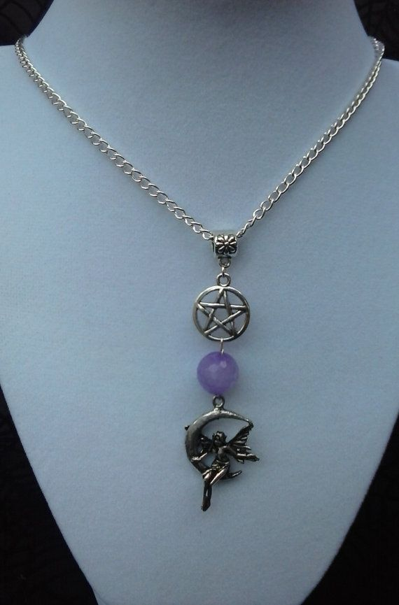 Purple Jade Faery Pentagram Necklace The by SpeakingofWitchWands