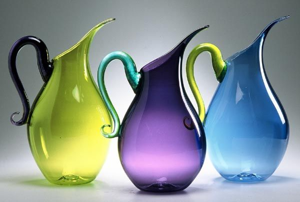 Jewel-tone pitchers. Love all of them, but especially the blue. Pinkwater Glass